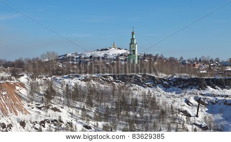 Holy Trinity Church and Tower edinovercheskie on Fox (Bald) hill. Nizhny Tagil. Sverdlovsk region.