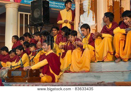 Young Novices On Ganga Aarti Ceremony In Parmarth Niketan Ashram