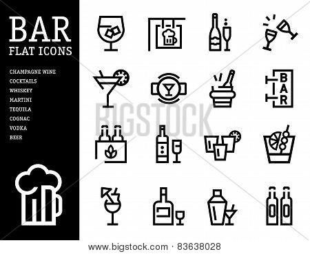Bar, alcohol icons, Drink beverage set