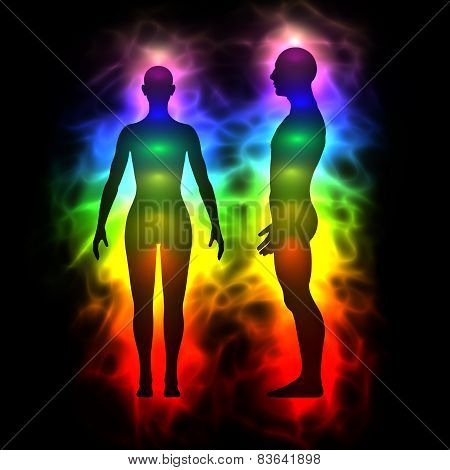 Illustration of human aura. Silhouette with aura and chakras. Theme of healing energy extrasensory perception connection between the body and soul. poster