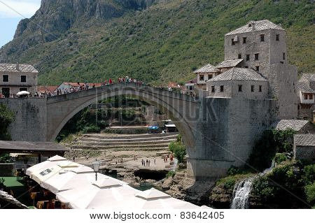 Famous Historical Bridge-monument In Mostar, Bosnia And Herzegovina