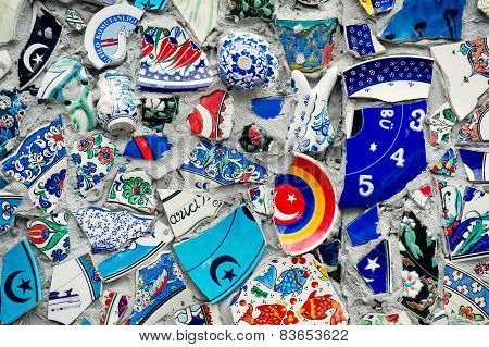Mosaic of broken tiles wall in Istanbul wall made of colorful mosaic broken tiles Turkey Turkey