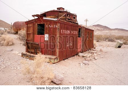 Railroad Caboose Rhyolite Ghost Town Nevada Usa Death Valley