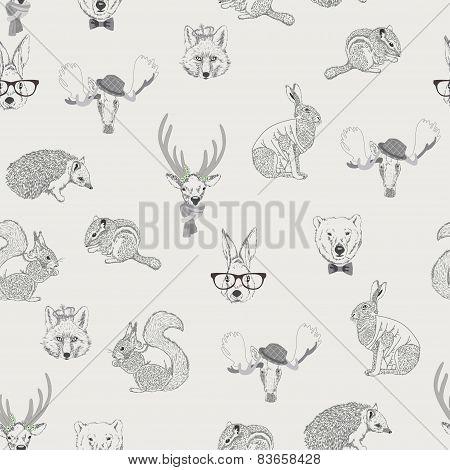 Seamless pattern with wild animals