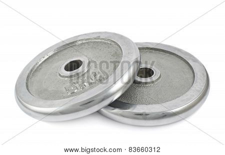 Metal barbell plates isolated