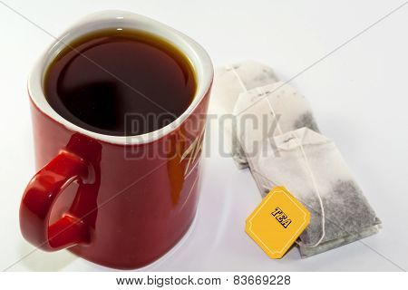 Red Cup of Tea with Tea Bags