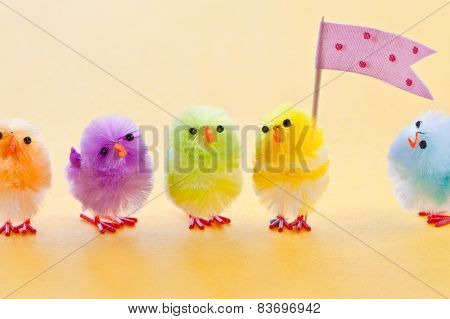 Colorful Easter Chicks