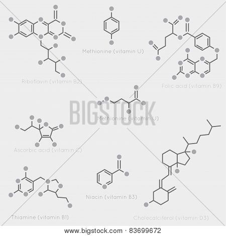Skeletal formulas of some vitamins. Schematic image of chemical organic molecules nutrients. poster
