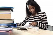 young black African American ethnicity student girl studying pile of books on library desk preparing exam in stress reading textbook concentrated in youth education concept poster