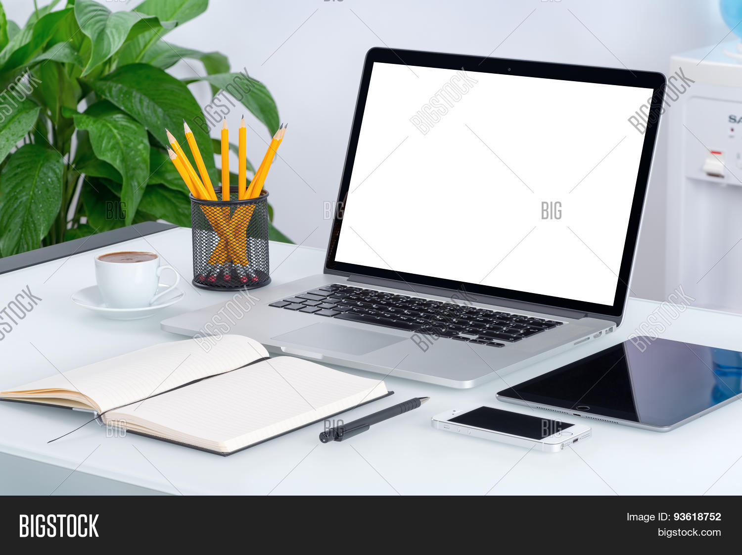 office desk laptop computer notebook mobile. Unique Office Laptop Mockup With Tablet Computer Smartphone And Notebook On The Modern Office  Desk Mobile Bigstock