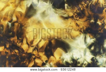 Black And Ocre With Yelow Structure On Batik Fabric. Abstract Color Backgrounds