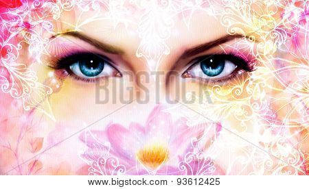 Blue Women Eyes Beaming Up Enchanting From Behind A Blooming Rose Lotus Flower, With Ornaments.