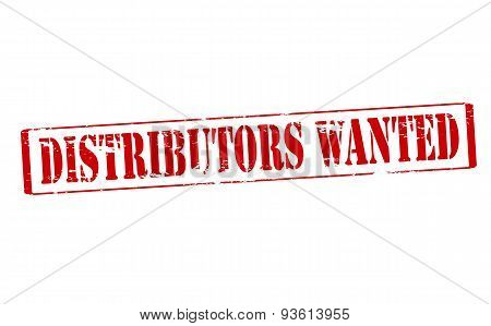 poster of Rubber stamp with text distributors wanted inside vector illustration