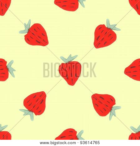 Seamless natural color pattern of red ripe strawberries