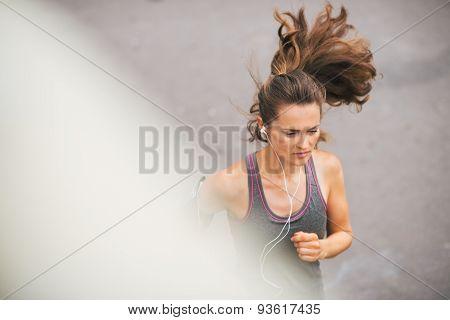 Woman Runner Seen From Above