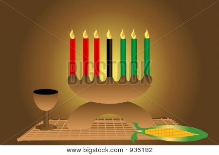 kwanzaa holiday candles cup mat and corn illustration. poster