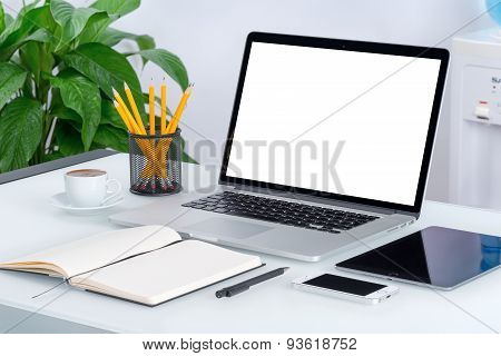 Laptop Mockup With Tablet Computer Smartphone And Notebook On The Modern Office Desk