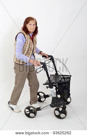 Elderly Lady With Rollator.