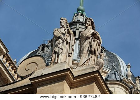 Fragment of facade of the Chapelle de la Sorbonne in Paris France poster