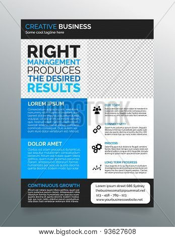 Business flyer template A4 - modern contemporary design in blue and grey