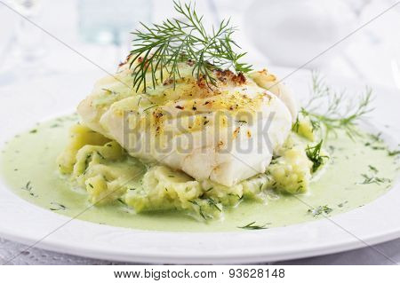 Cod filet in Basil Champagne Foam poster