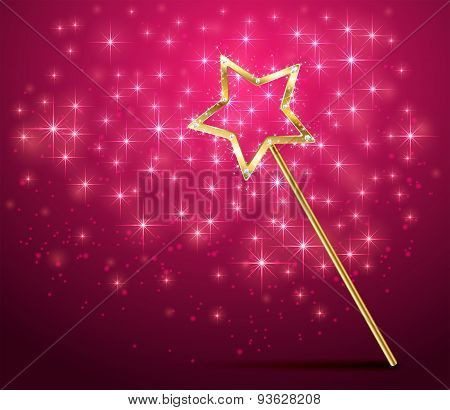 Sparkle Magic Wand On Pink Background
