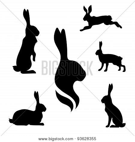 Hare set vector
