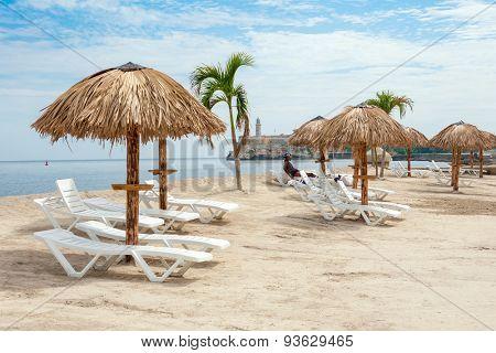 HAVANA,CUBA - JUNE 15:2015 : Art installation resembling a tropical beach at the Havana Biennale