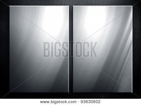 metal plate on metal mesh background