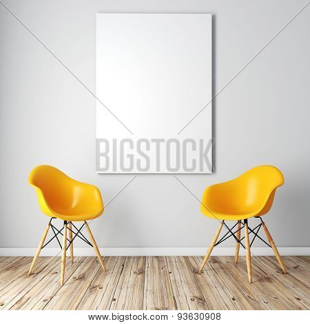 3d render of interior  with a blank frame and wooden floor