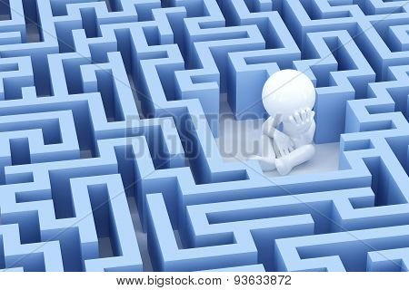 Lost and sad man in center of the maze. 3d Illsuatration