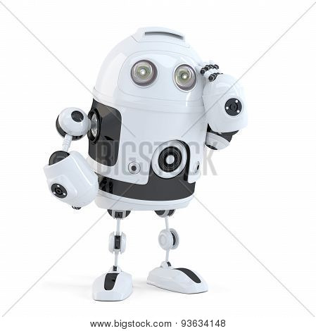 Thoughtful handsome robot. Isolated over white background. Contains clipping path. 3D illustration. Isolated