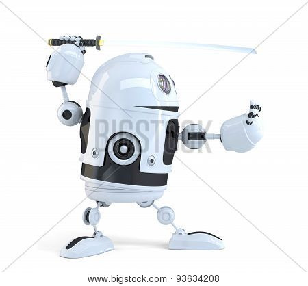 Robot with Katana sword. Technology concept. Isolated over white. 3D illustration. Isolated. Contains clipping path