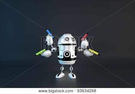 Four-armed robot with pencils. Multitasking concept. 3D illustration. Contains clipping path