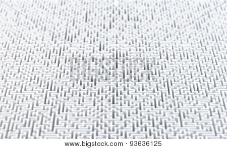 Abstract white maze background. 3d rendered illustration.