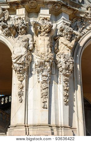 Sculpture Of Satyrs As Atlantes Under Rampart Pavilion, Zwinger, Dresden.