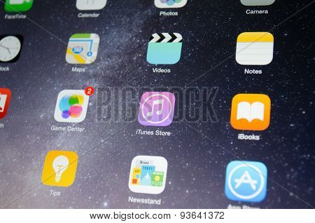 Apple's Device Screen  Focused On Itunes Store  Application Icon