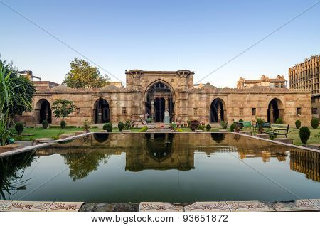 Ahmedabad, India - December 27, 2014: Ancient Mosque Near Sidi Saiyad Masjid In Ahmedabad
