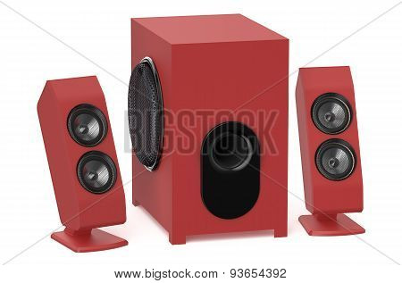 Red Loudspeakers With Subwoofer System 2.1