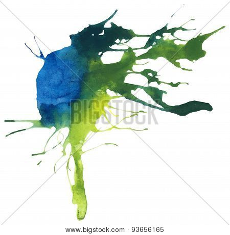 Beautiful traced vector watercolor splatter. Stain of blue and yellow paint. poster