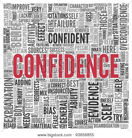 Close up CONFIDENCE Text at the Center of Word Tag Cloud on White Background.