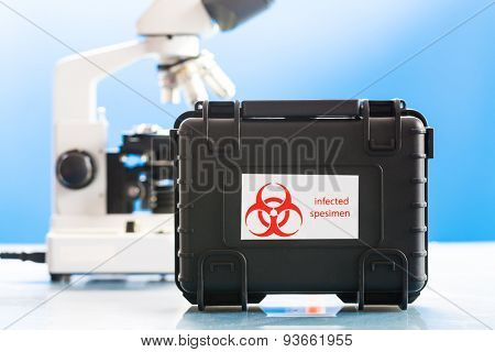 Safe case with epidemiologically dangerous viruses coronavirus and microscope in laboratory. Design of the label is specially created for this shot.