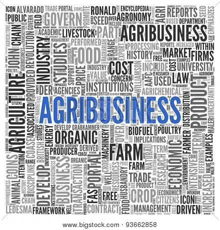 Close up AGRIBUSINESS Text at the Center of Word Tag Cloud on White Background.