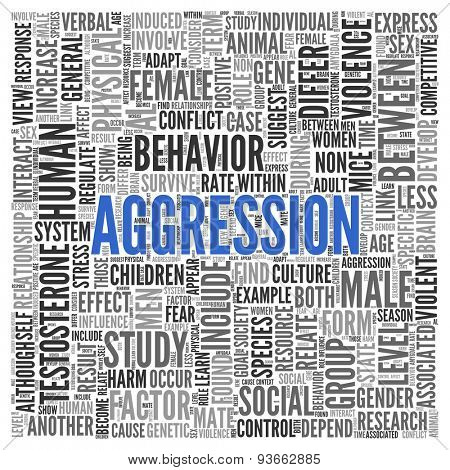 Close up AGGRESSION Text at the Center of Word Tag Cloud on White Background.
