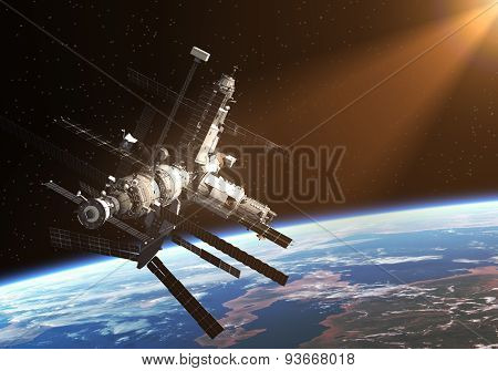 Space Station In The Rays Of The Sun