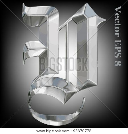 Vector letter V from metal gothic alphabet. Uppercase metal font collection. EPS 8