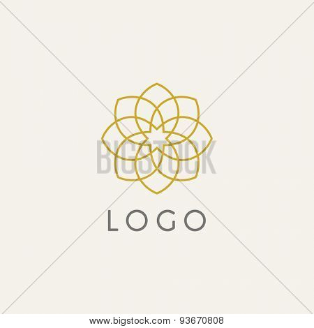 Hipster template logo. Modern lineart logo design elements