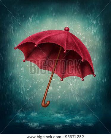 Red umbrella and rain drops