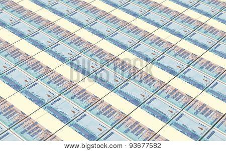 Zimbabwean dollar bills stacks background