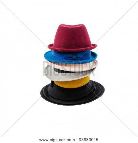 Stacked of Wool tweed gentlemen's cap and felt trilby/fedora hat